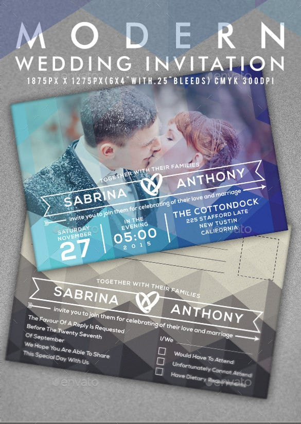 romantic couple modern wedding invitation