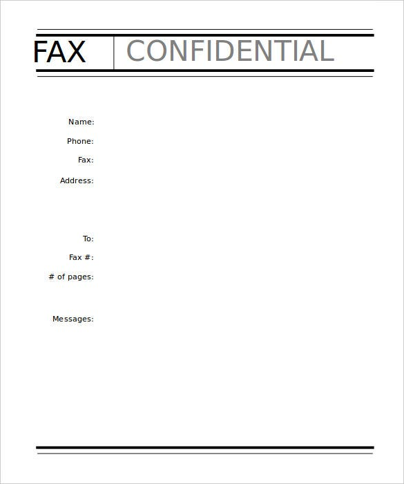Sample Fax Cover Sheet Template Confidential Free Editable  Fax Form Template Free