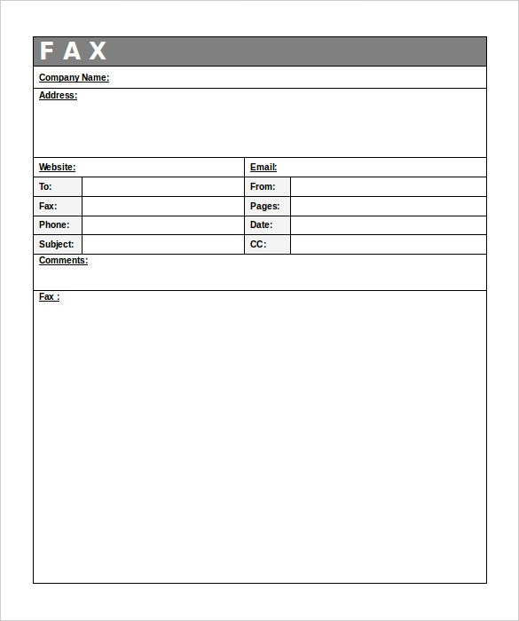printable professional company fax template free sample