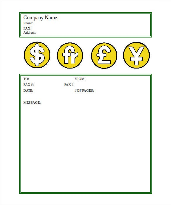 sample professional financial fax cover sheet template free