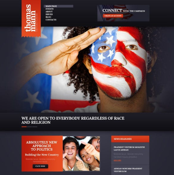 dark political candidate wordpress theme