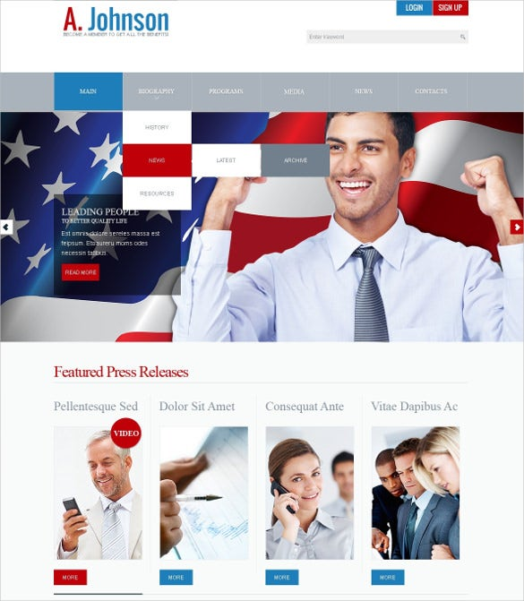 political candidate joomla theme