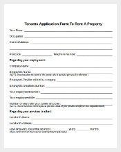 Example Tenants Application Form for House Rent