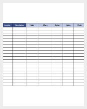 Sample Home Inventory Template Download