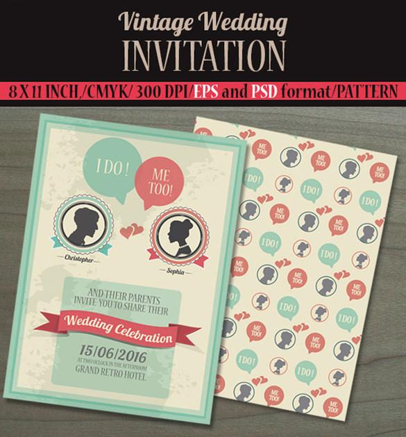 vintage wedding invitation card1