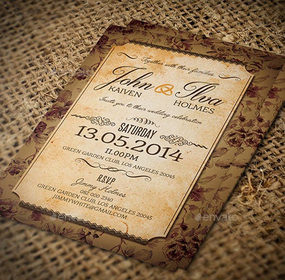 Vintage Wedding Invitations: 23+ Vintage Wedding Invitation- Free PSD Format Download