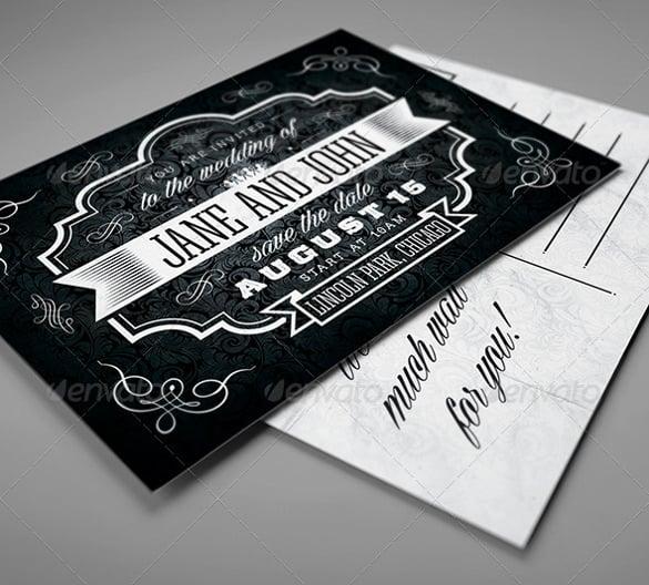 black vintage wedding invitation