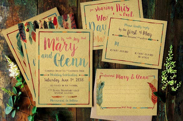 feather watercolor wedding package