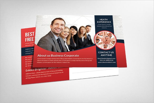 colourful corporate postcard template
