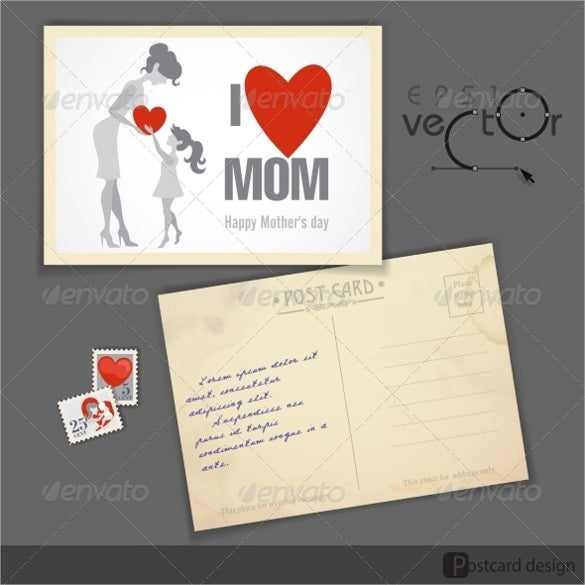 happy mothers day postcard design