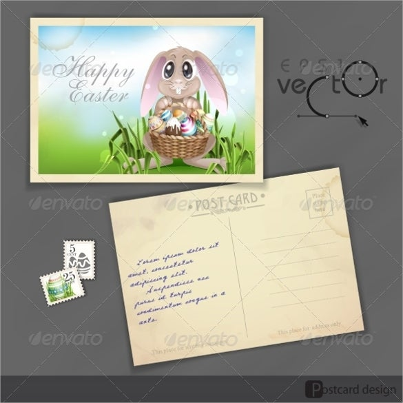 vector illustrated happy easter postcard design