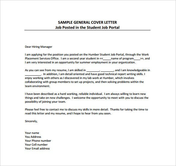 General Cover Letter Templates Free Sample Example Format