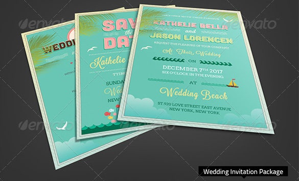 beach wedding invitation package