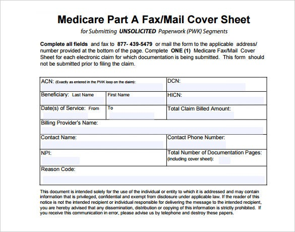 8 Medical Fax Cover Sheet Templates Free Sample