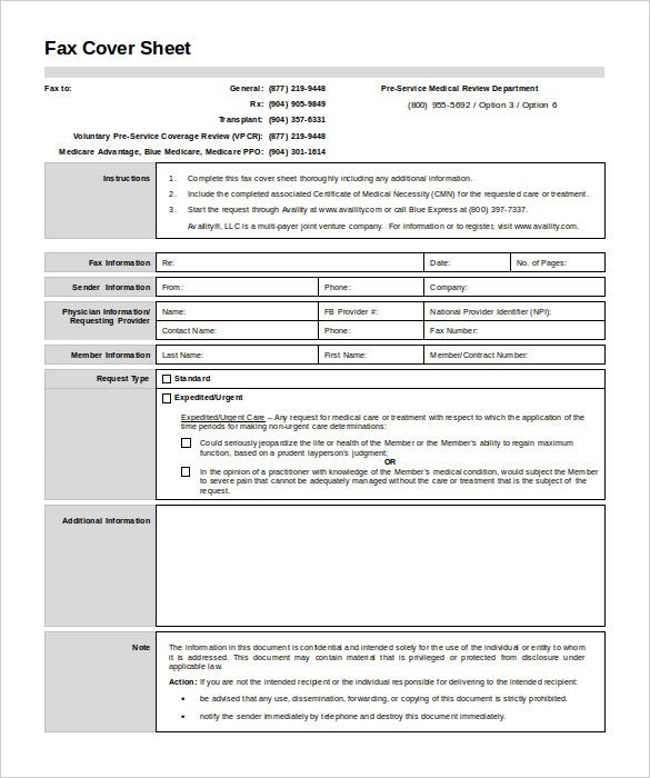 7 Medical Fax Cover Sheet Templates PDF Word Free Premium