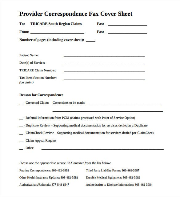 provider correspondence fax cover sheet for medical printable