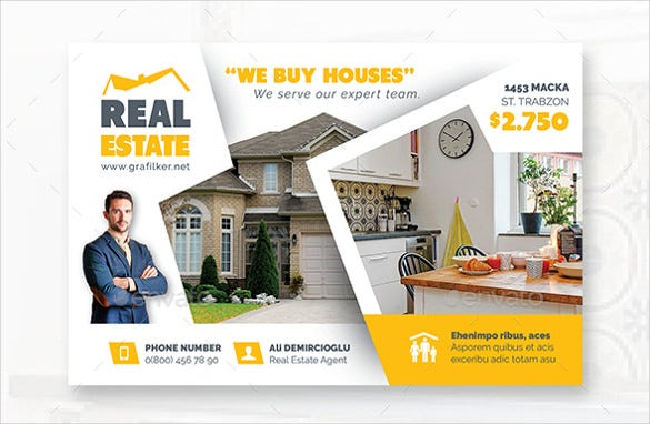 white and yellow real estate postcard templates