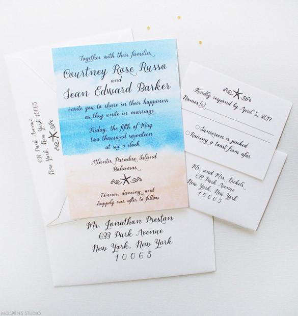tropical beach wedding invitation 6