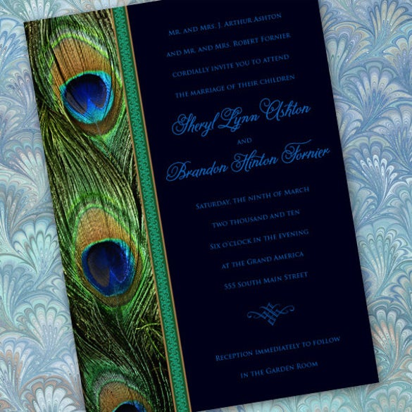 23 Peacock Wedding Invitation Templates Free Sample Example