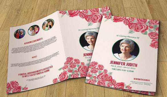 brown floral funeral program template