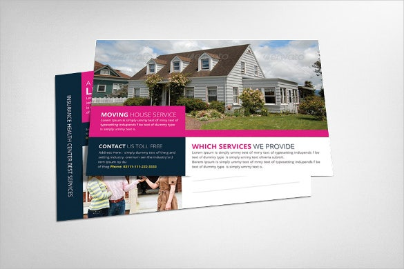 pink real estate postcard template
