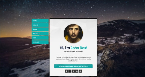 personal vcard portfolio creative wordpress theme