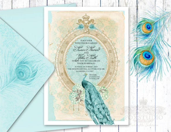 23 Peacock Wedding Invitation Templates Free Sample