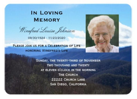 Memorial Service Announcement Invitation Photo  Funeral Announcements Template