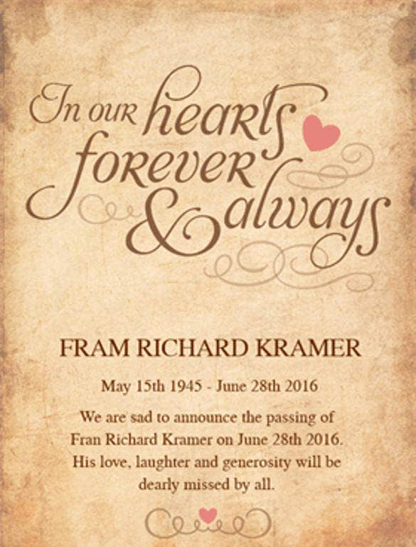 In Our Hearts Forever Memorial Announcement Template  Funeral Announcement Sample