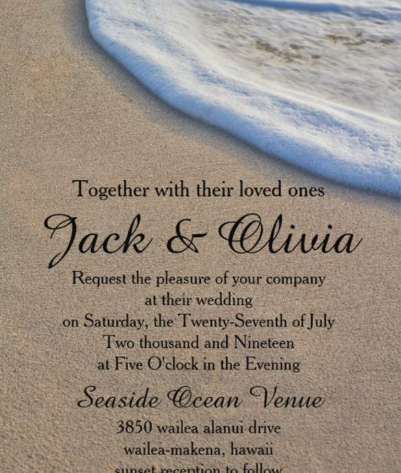casual beach sand sea foam wedding 5x7 paper invitation card 4