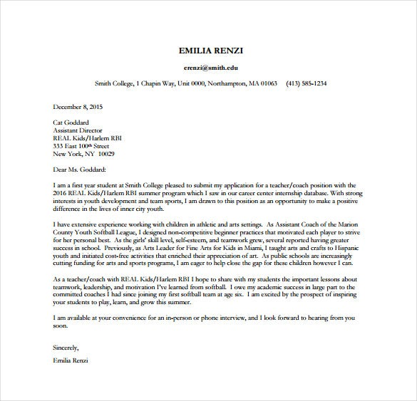 Professional college cover letter examples Free Sample Resume Cover