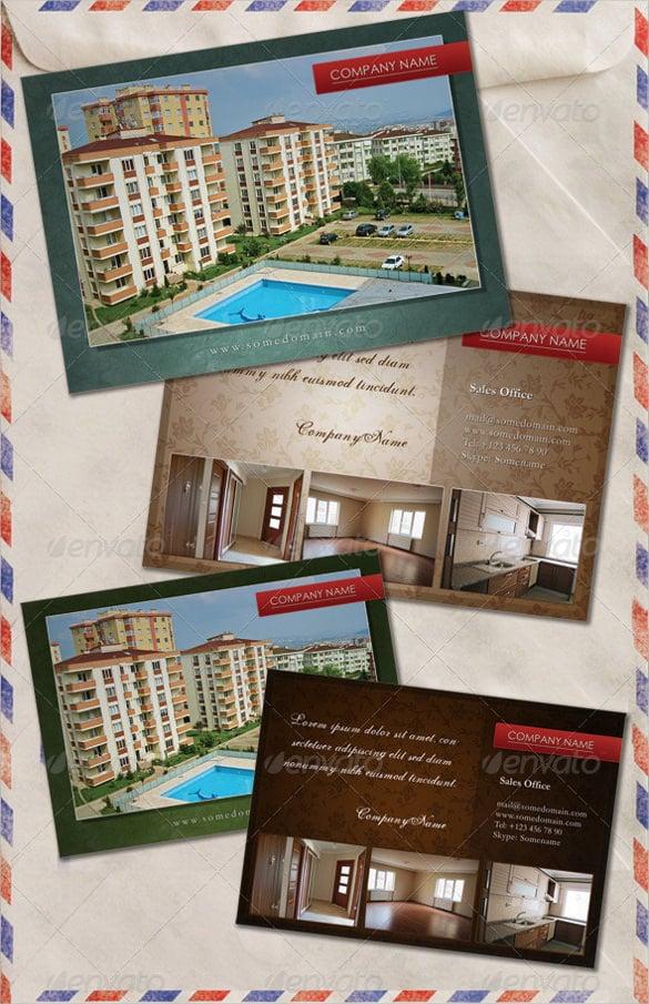 beautiful real estate agent postcard