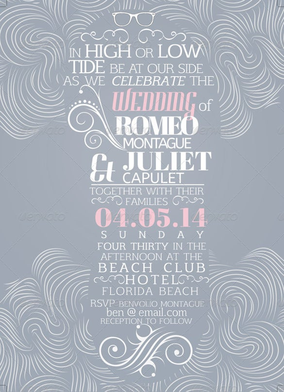 beach style wedding invitation card 02