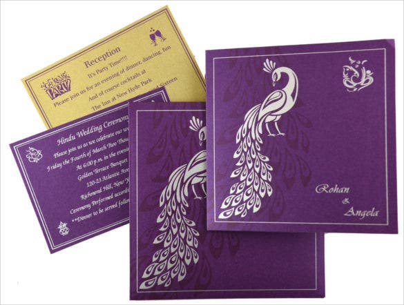 Purple Peacock Wedding Invitation Set