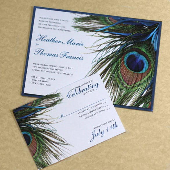 25 Peacock Wedding Invitation Templates Free Sample Example