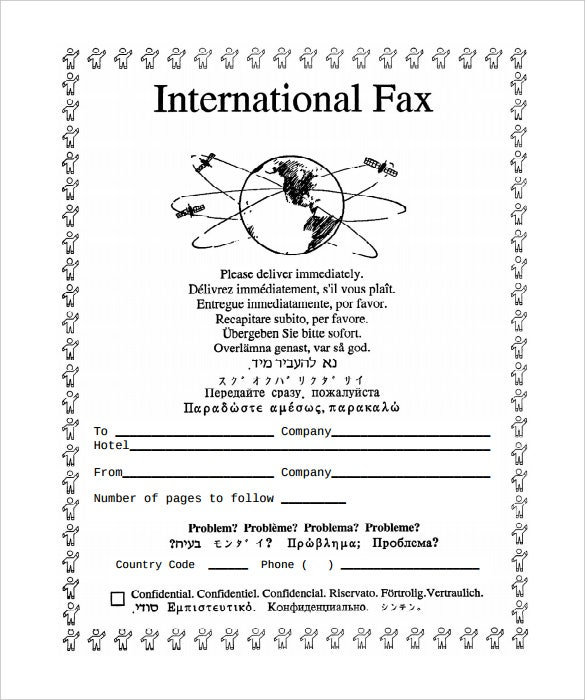 sample generic international fax cover sheet template