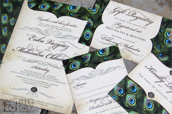 25+ Peacock Wedding Invitation Templates – Free Sample, Example ...