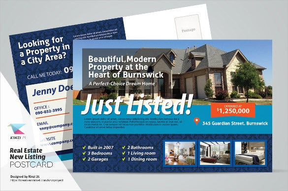 fully editable new listing real estate postcard