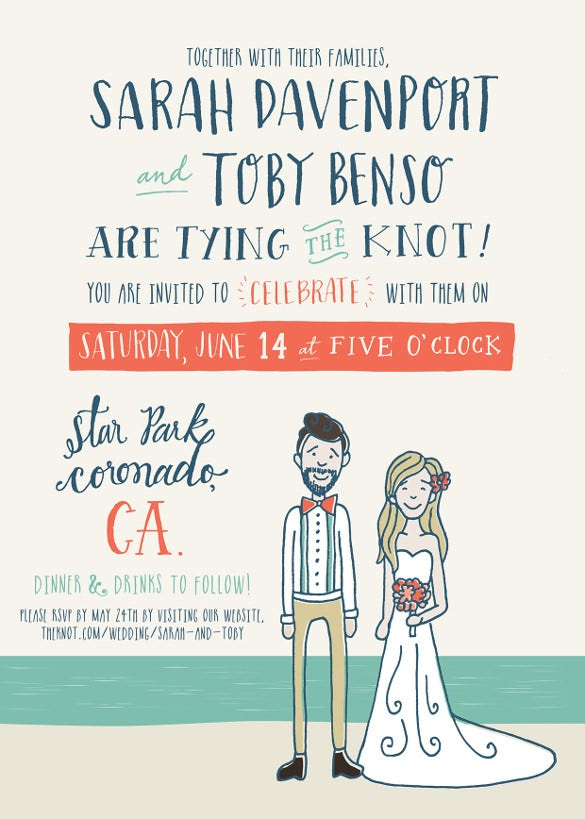 illustrated beach wedding invitation