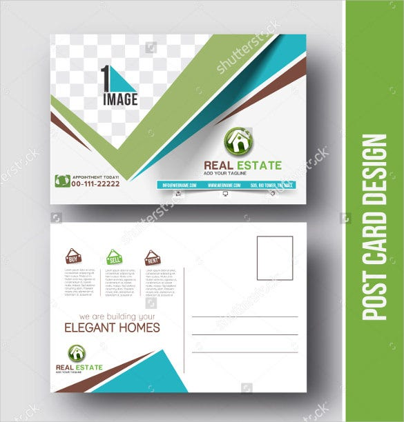 real estate postcard design vector template for opening invitation