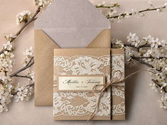 Pocket Fold Rustic Wedding Invitation