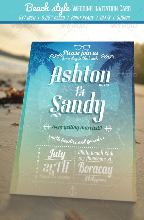 beach style wedding invitation card1