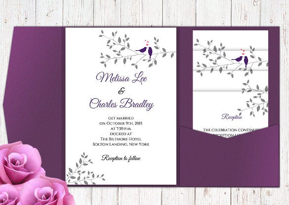 Pocket Wedding Invitation Template PSD JPG Indesign Format - Diy photo wedding invitations templates