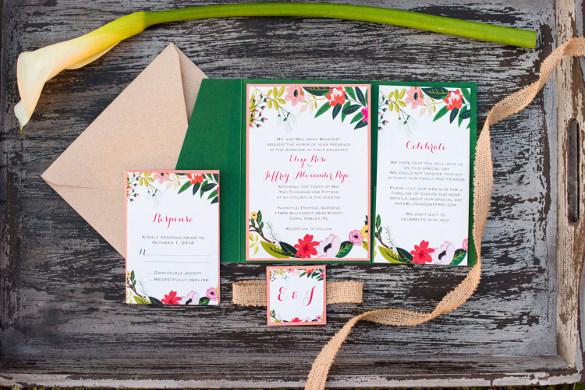 floral panel pocket wedding invitation suite
