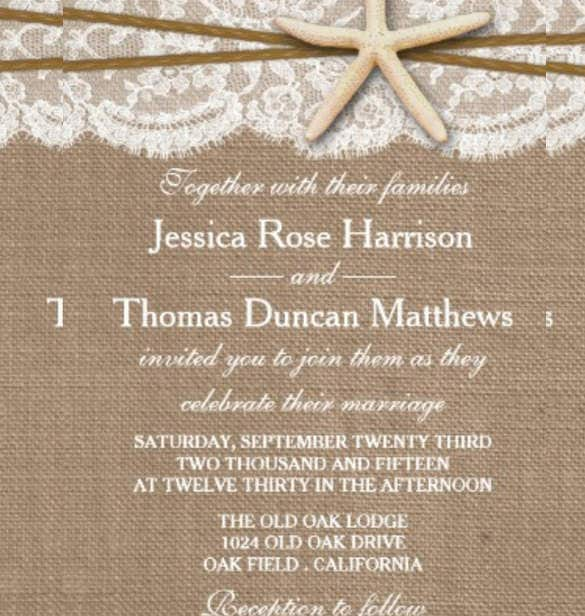 beach wedding invitation template of starfish