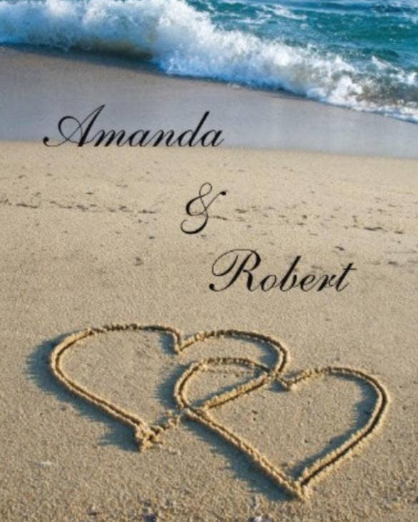 beach wedding invitation with heart style