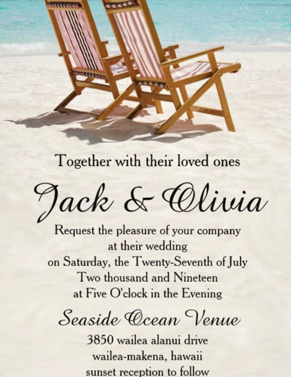 beach wedding invitation with love