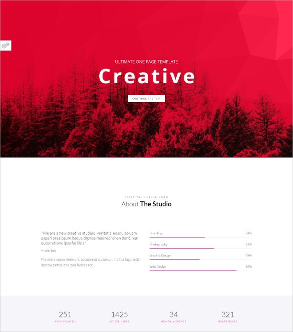 creative one page minimal parallax joomla template