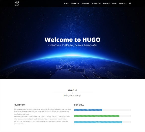 creative onepage joomla responsive template