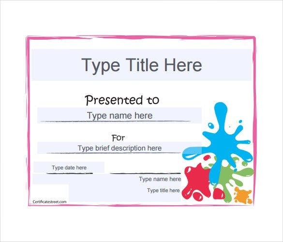Blank gift certificate template 31 examples in pdf word free certificatestreet if you are giving out an art award certificate what could be better than a template which has splashes of color to make it look all yadclub Gallery